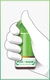graphic of a hand holding Flonase
