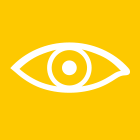 Yellow square with eye graphic