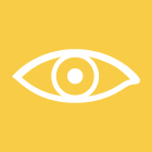 A yellow square with a line drawing of an eye