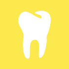 A yellow square with a line drawing of a tooth