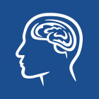 A blue square with a line drawing of a head and its brain