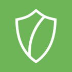 A green square with a line drawing of a shield