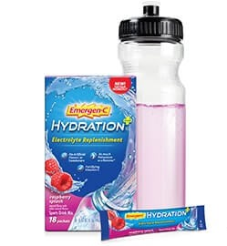 Box and packet of Emergen-C Hydration resting beside a full water bottle