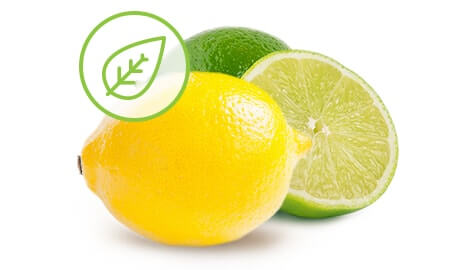 A lemon and lime with overlapping leaf emblem