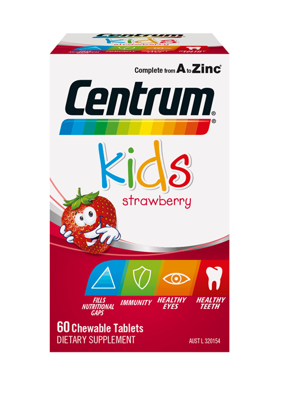 Box of Centrum Kids Strawberry Chewable Supplements (60 tablets).