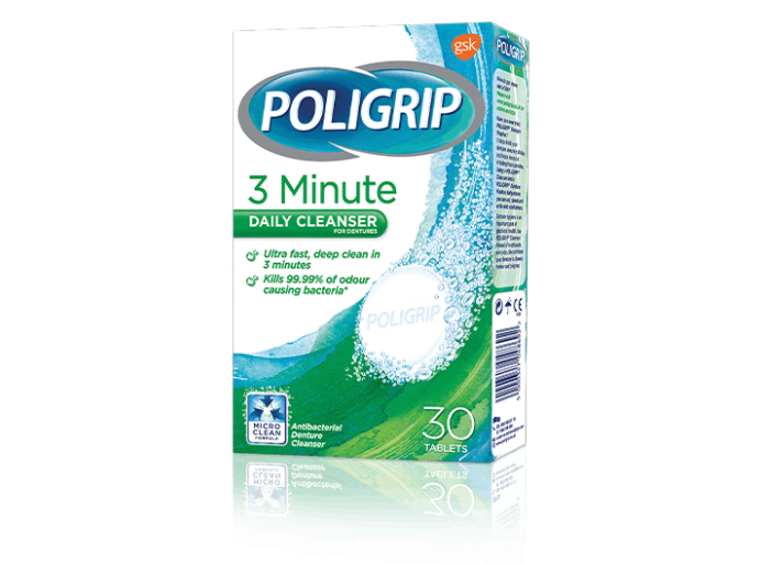 Poligrip three minute daily cleanser - 30 tablets pack shot