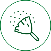 Cleaning to reduce spring allergy triggers like dust and mold from the home icon