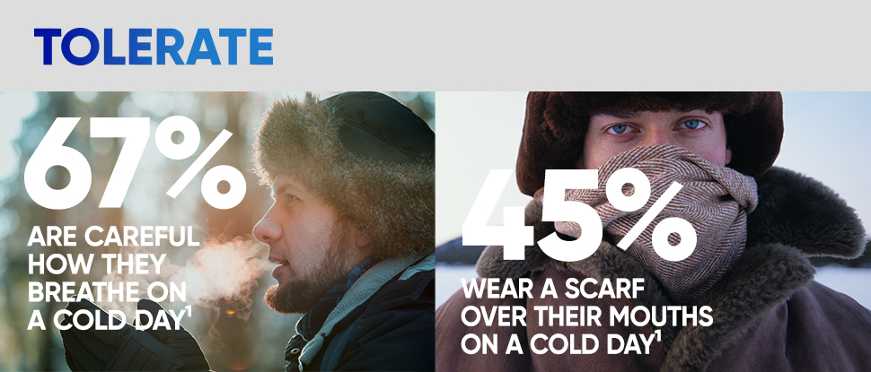 Tolerate 67% are careful how they breathe on a cold day 45% wear a scarf over their mouths on a cold day