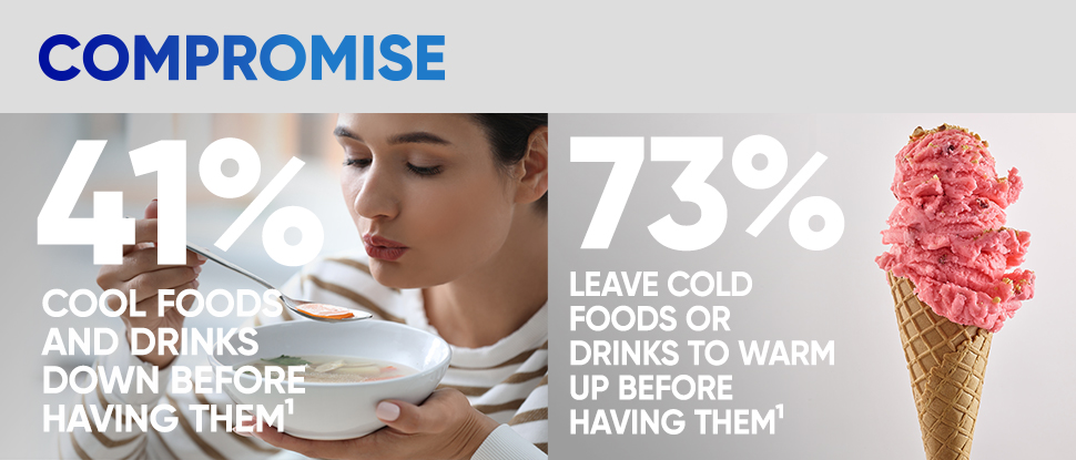 Compromise 41% cool foods/drinks down before having them 73% leave cold foods or drinks to warm up before having them