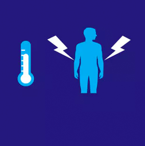 Thermometer and person icon