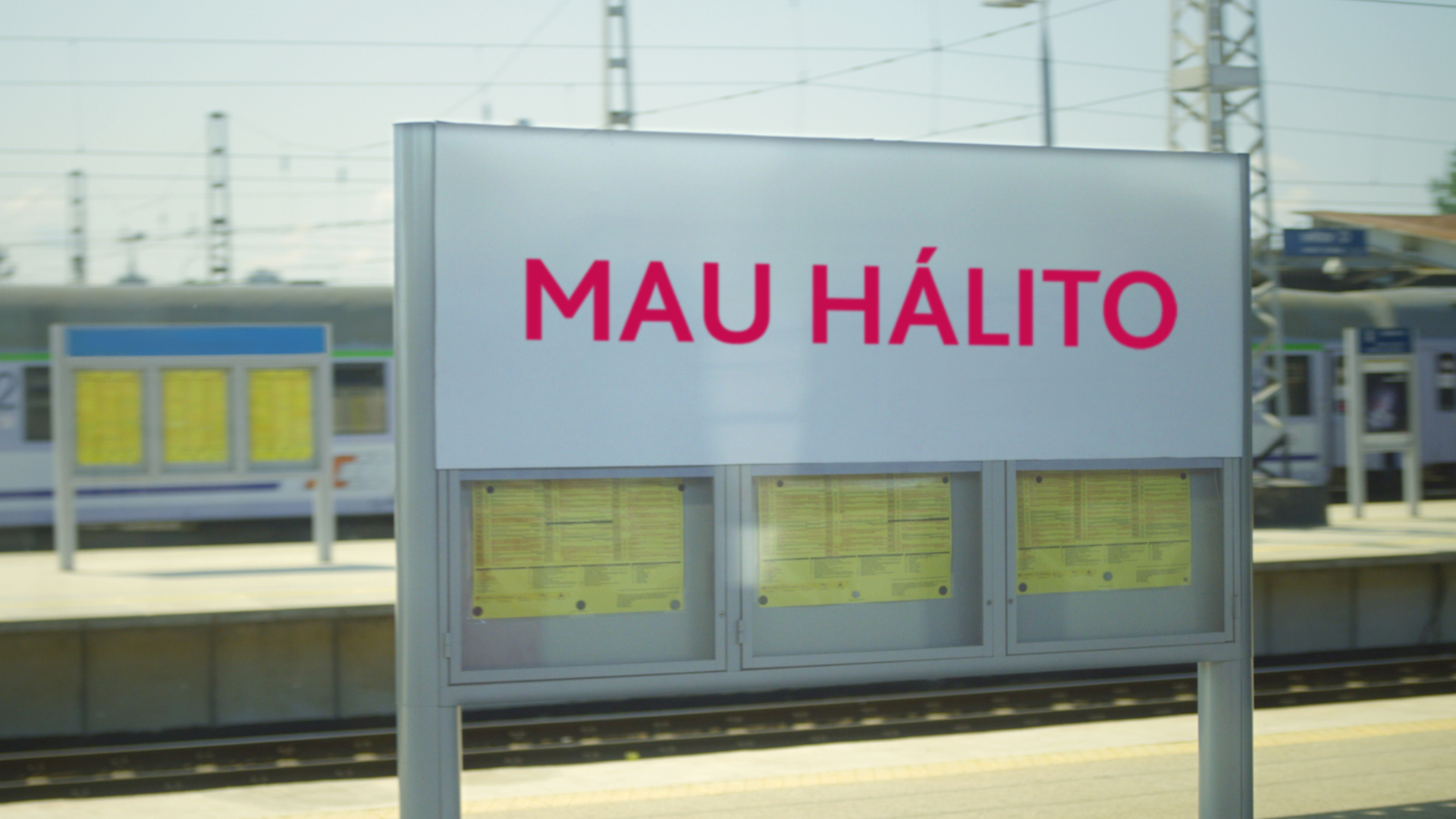Train station sign with 'Bad breath' written on it