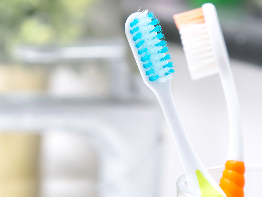 two toothbrushes by sink