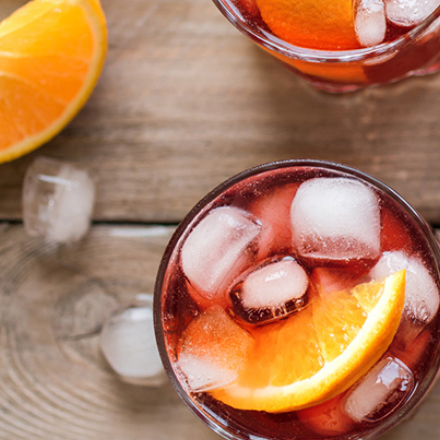 Glass of cold fruit juice