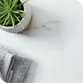 Cold marble slab with potted plant